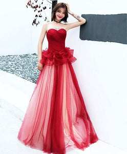 Simple Burgundy Tulle Long Prom Dress, Burgundy Evening Dress