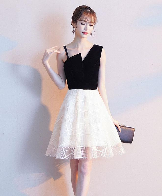 Black One Shoulder Tulle Short Prom Dress, White Homecoming Dress