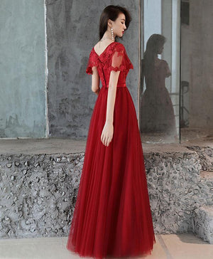 Simple Tulle Lace Long Prom Dress, Burgundy Bridesmaid Dress