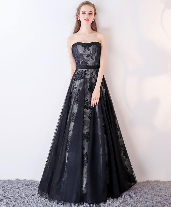 Black Sweetheart Tulle Long Prom Dress, Black Evening Dress