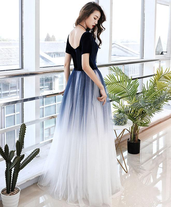 Simple Blue Tulle Long Prom Dress Blue Tulle Evening Dress