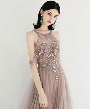 Unique Tulle Beads Long Prom Dress, Tulle Formal Dress