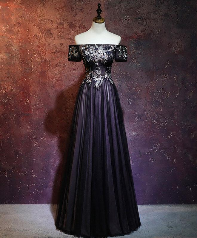 Black Tulle Lace Applique Long Prom Dress, Black Evening Dress