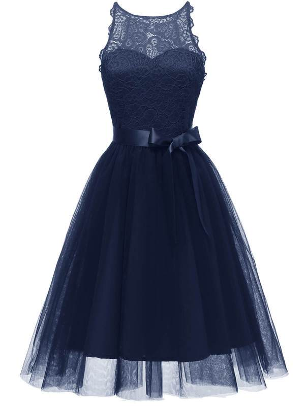 Blue 1950s Lace Belted Bow Swing Dress