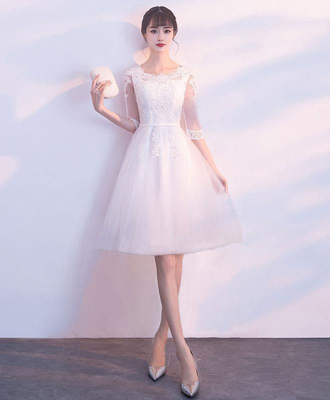 White Tulle Lace Short Prom Dress, White Tulle Homecoming Dress