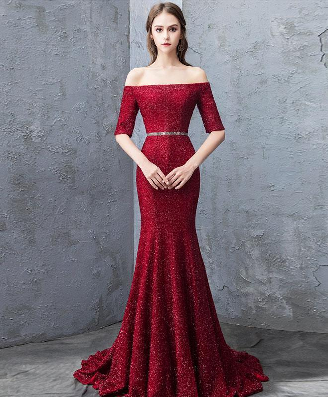 Unique Burgundy Mermaid Long Prom Dress, Burgundy Evening Dress
