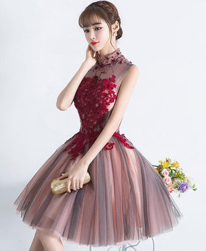 Unique Burgundy Tulle Lace Short Prom Dress, Tulle Homecoming Dress