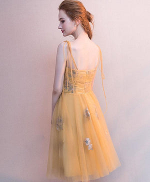 Simple Yellow Tulle Short Prom Dress, Yellow Homecoming Dress