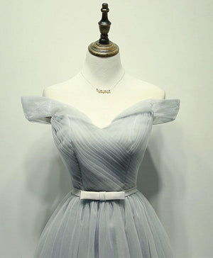 Simple Gray Tulle Short Prom Dress, Gray Tulle Bridesmaid Dress