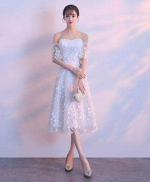White Lace Sweetheart Short Prom Dress, White Homecoming Dress