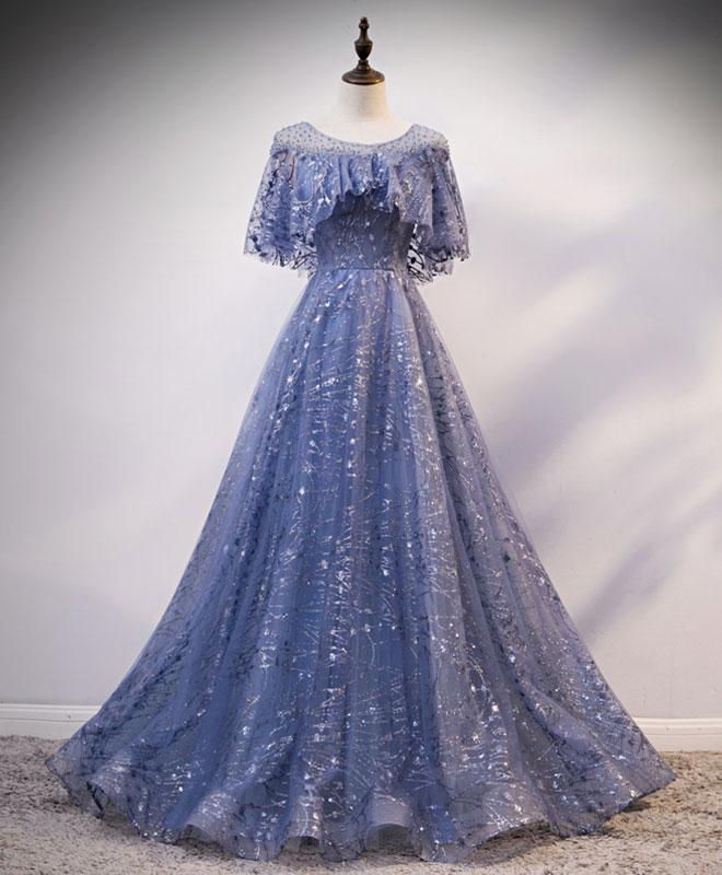 Unique Round Neck Tulle Lace Long Prom Dress Blue Lace Evening Dress A012