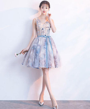 Unique V Neck Tulle Short Prom Dress, Tulle Homecoming Dress