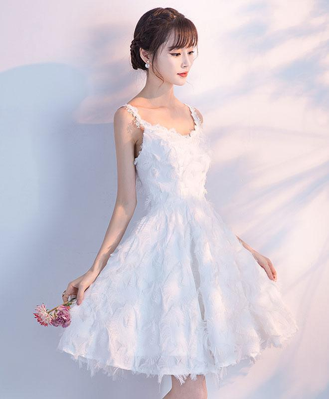Unique White Short Prom Dress, White Homecoming Dress