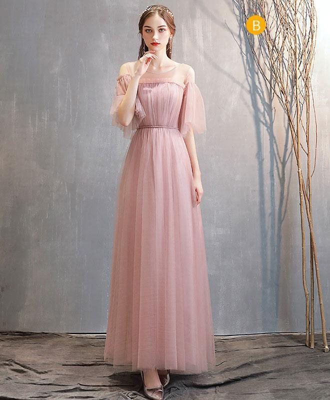 Simple Pink Tulle Long Prom Dress Pink Tulle Bridesmaid Dress A005