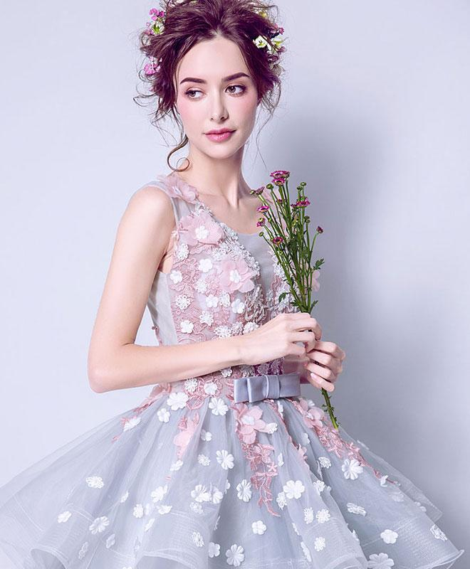 Unique Round Neck Tulle Lace Long Prom Dress, Gray Evening Dress