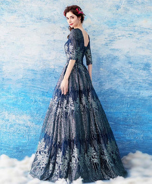 Unique Dark Blue Lace Long Prom Dress, Blue Evening Dress