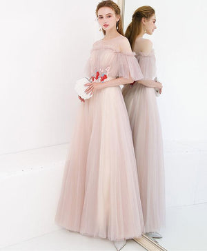 Unique Tulle Long Prom Dress, Tulle Champagne Long Evening Dress