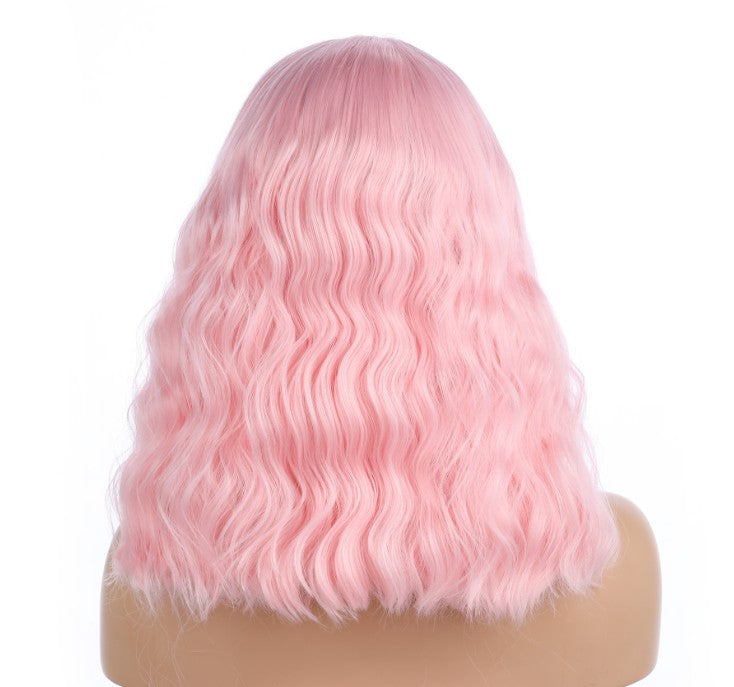 Romantic Pink Curly Front Lace Synthetic Wig - DelaFur Wholesale
