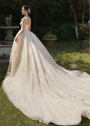 White Tulle Lace Long Wedding Dress, Wedding Gown