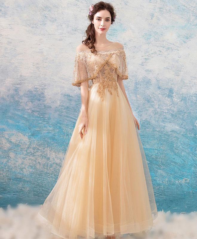 Unique Champagne Tulle Lace Tea Length Prom Dress, Champagne Tulle Evening Dress