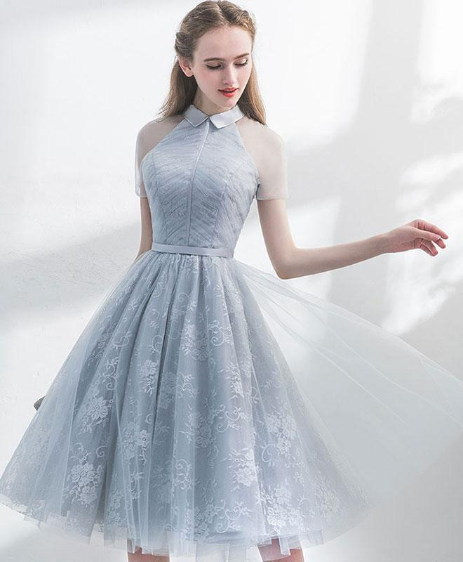 Unique Gray Tulle Lace Short Prom Dress, Gray Evening Dress A026