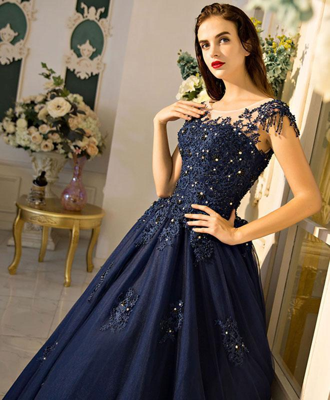 Unique Round Neck Dark Blue Tulle Lace Long Prom Dress, Evening Dress