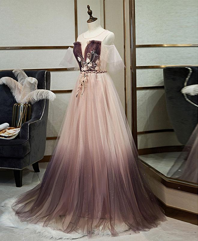 Unique Tulle Round Neck Lace Long Prom Dress Tulle Evening Dress