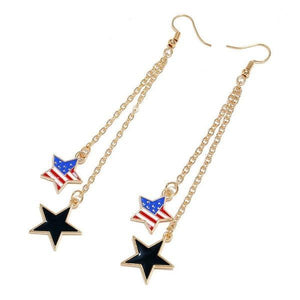 Dangle Drop Hook Patriotic Earrings