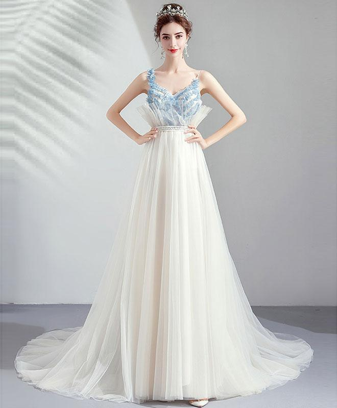 White Tulle Sweetheart Lace Long Prom Dress White Evening Dress