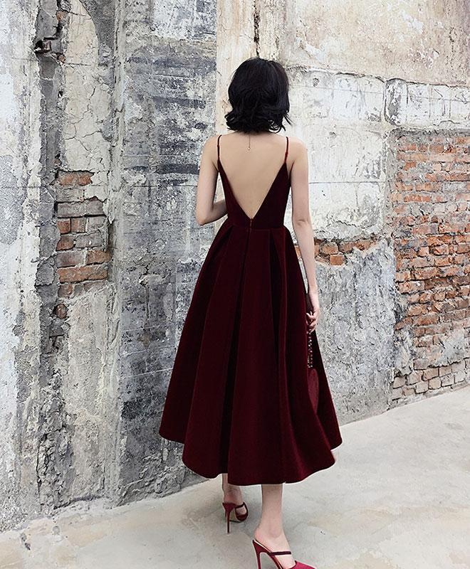 Simple Burgundy Tea Length Prom Dress, Burgundy Bridesmaid Dress A017