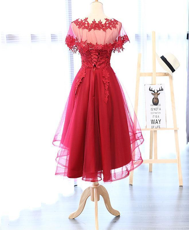 Red Round Neck Lace Tulle Short Prom Dress