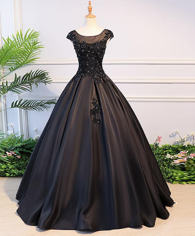 Black Round Neck Lace Long Prom Dress, Black Evening Dress