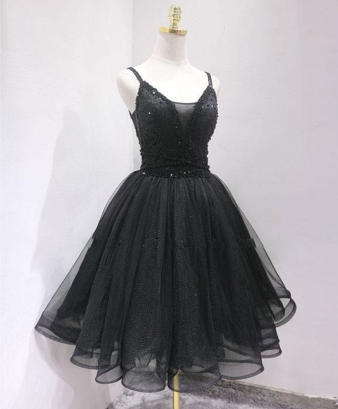 Black Tulle Beads Short Prom Dress, Black Homecoming Dress