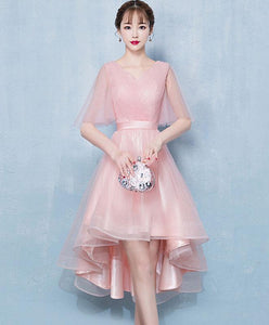 Simple Pink Tulle Short Prom Dress, Pink Bridesmaid Dress