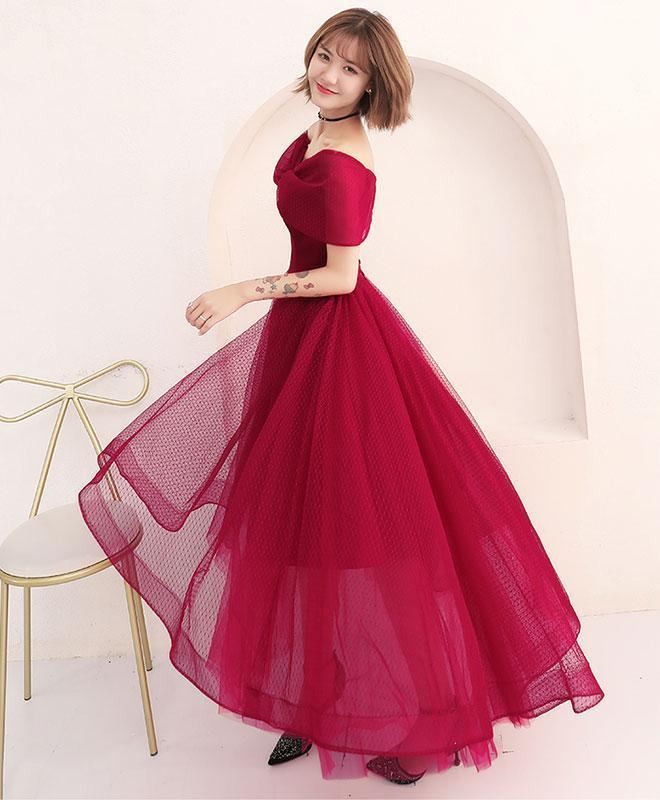 Simple Off Shoulder Tulle Prom Dress, Tulle Evening Dress