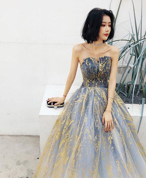 Unique Tulle Lace Long Prom Dress Tulle Evening Dress