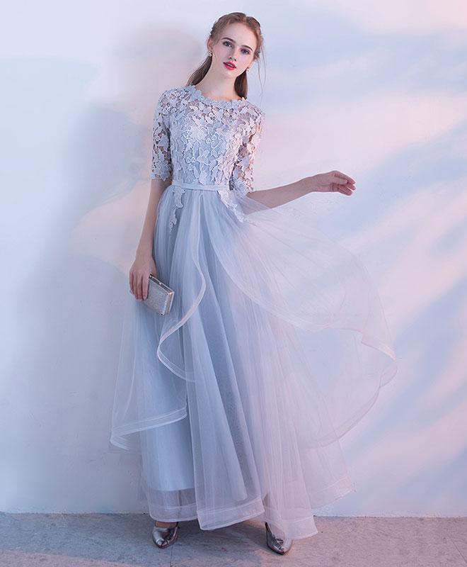 Simple Lace Tulle Gray Long Prom Dress, Gray Tulle Lace Evening Dress