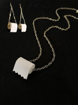 Funny Toilet Paper Earrings And Necklace