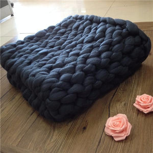 Dark Blue Chunky Knit Blanket Knitted Blanket, Chunky Blanket, Bulky Gift - DelaFur Wholesale