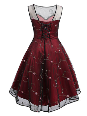 Wine Red 1950s Mesh Hi-Lo Back Lace Up Dress