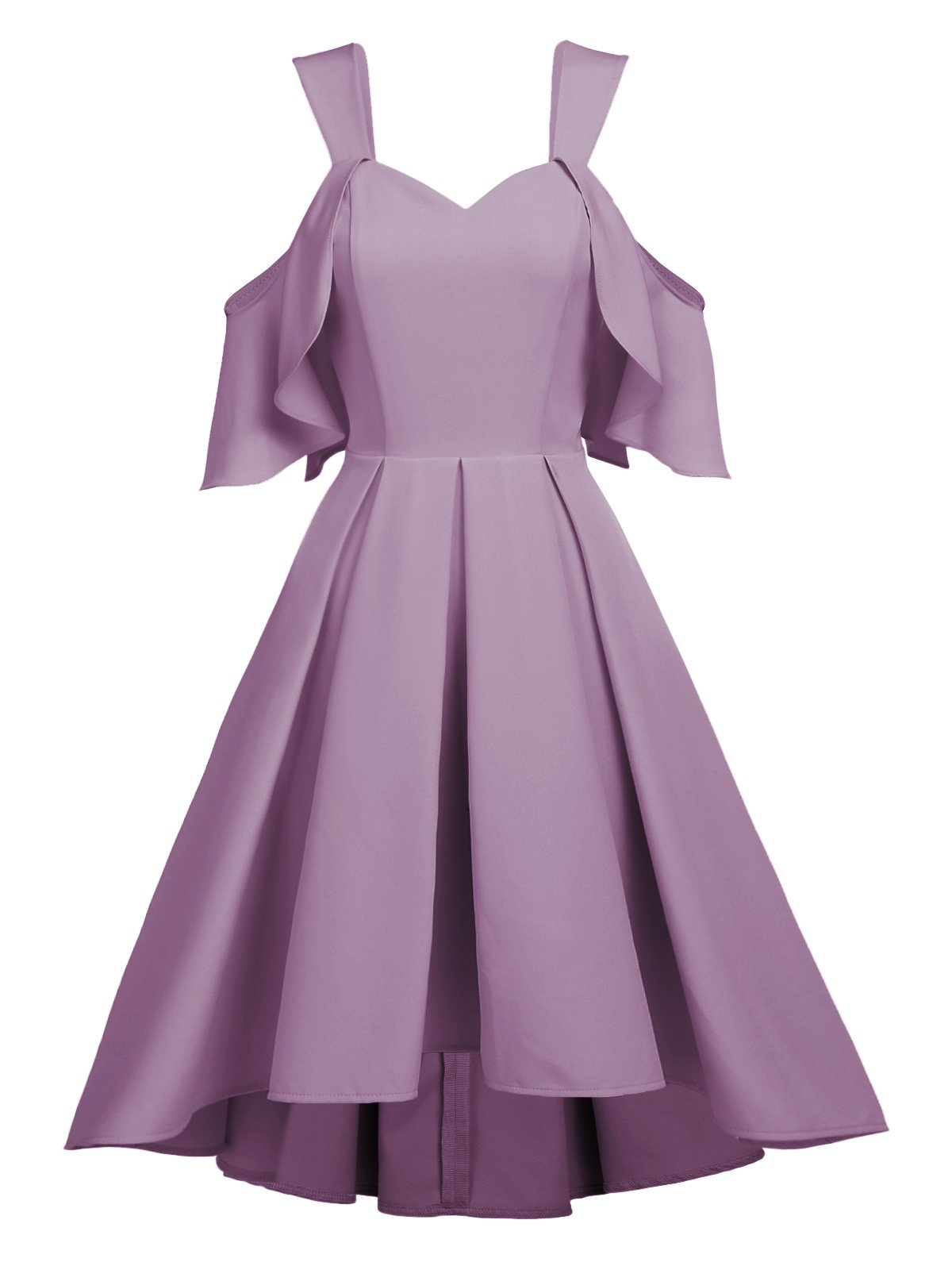 1950s Ruffle Cold Shoulder Swing Dress