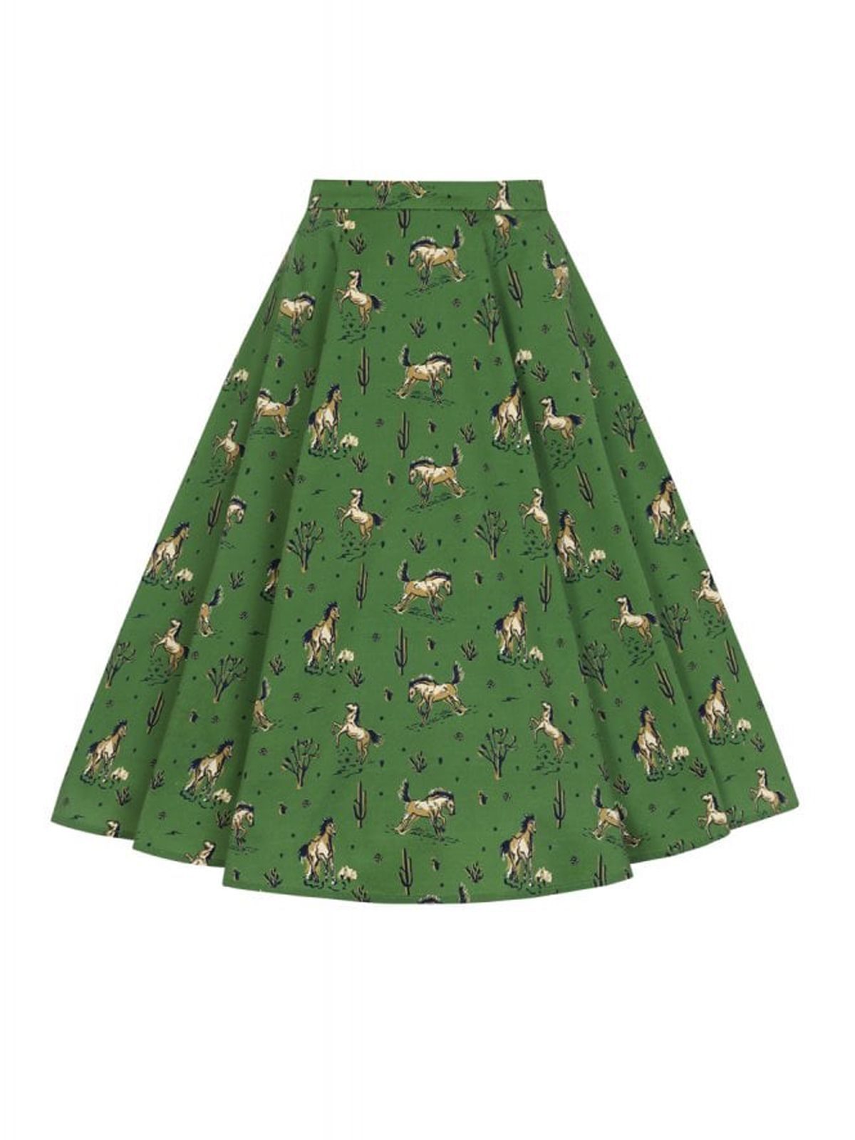 2PCS Green 1950s Horse Blouse Top & Skirt