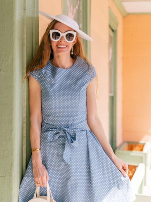 Blue 1950s Polka Dot Swing Dress