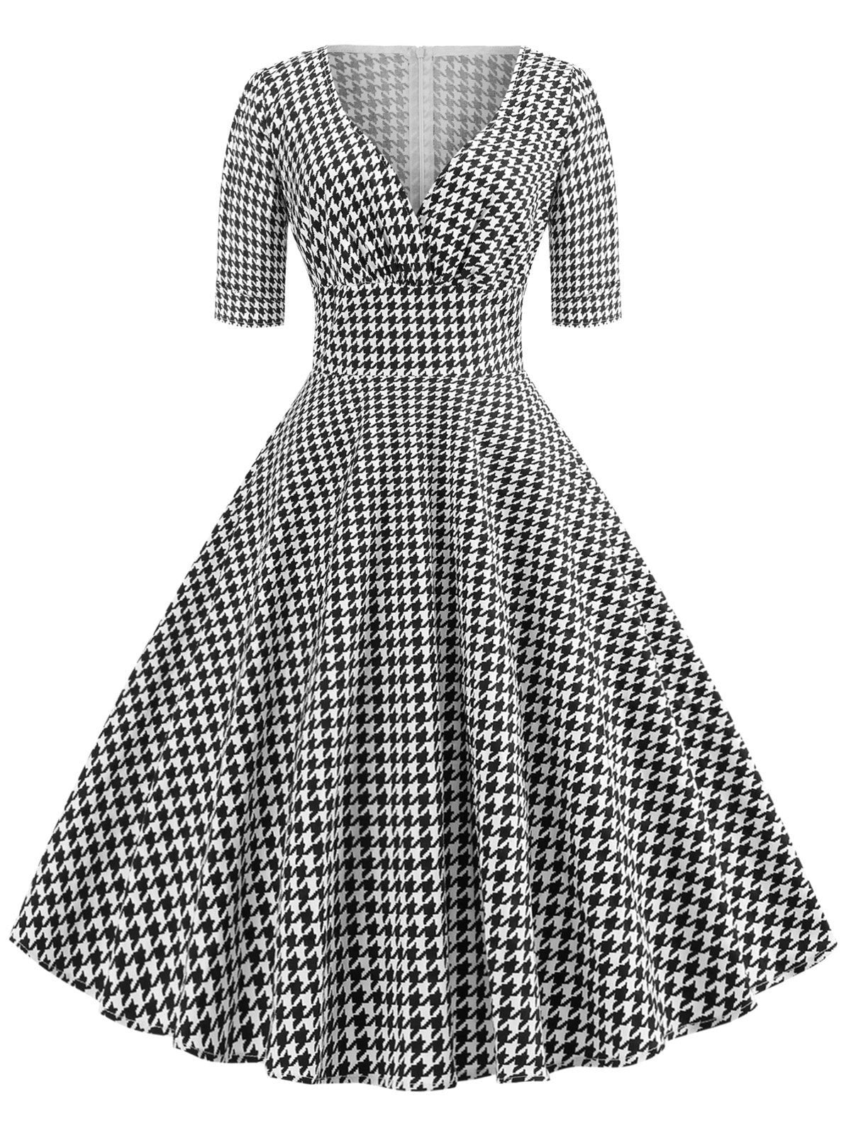 Black 1950s Plaid Swing Dress