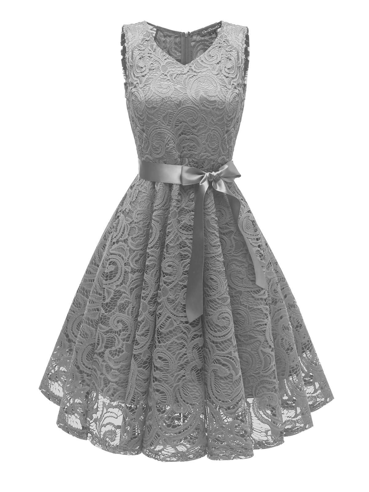 1950s Lace Floral Bow Dress