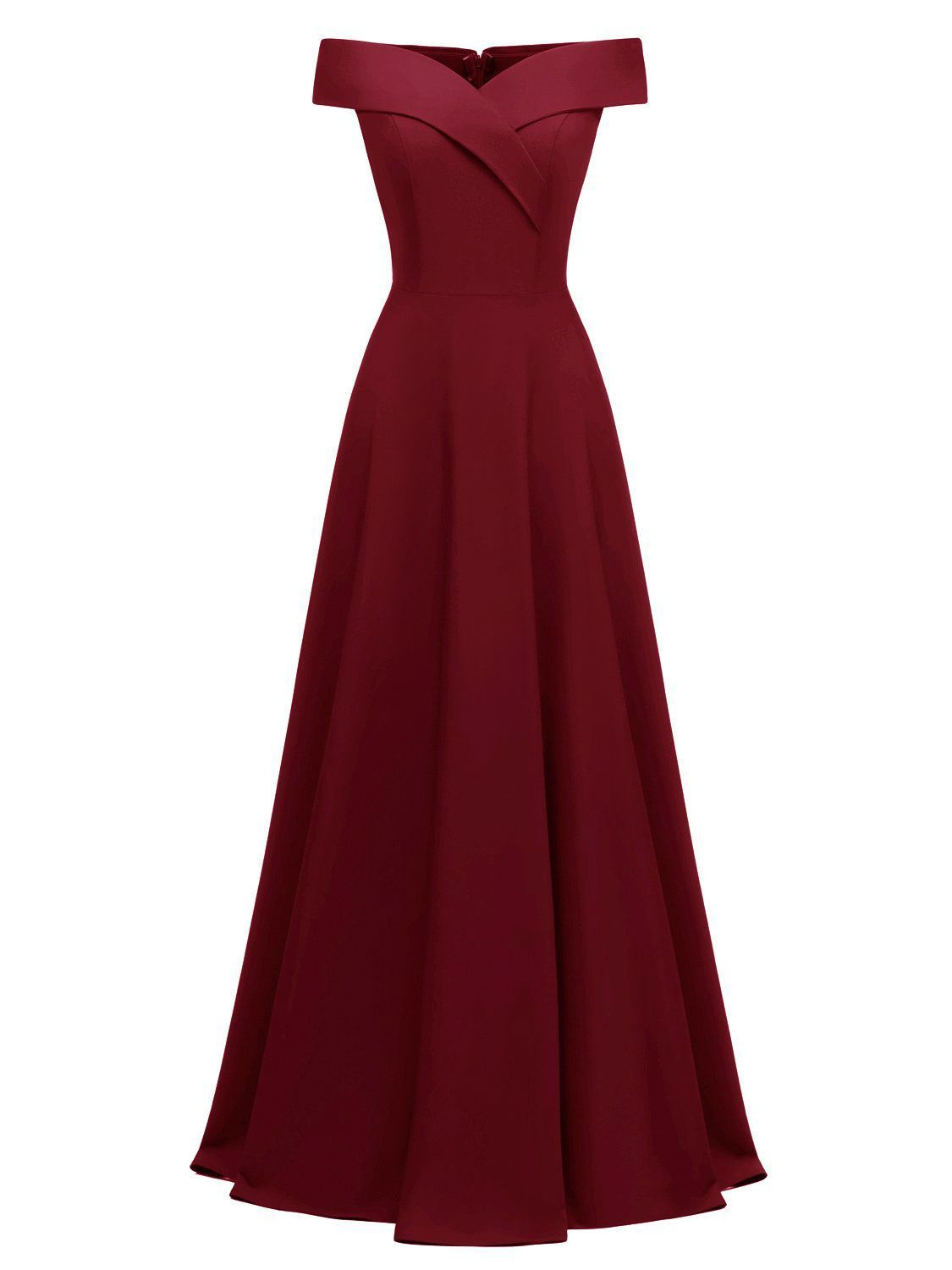 1950s Wine Red Vintage Solid Off Shoulder Long Dress