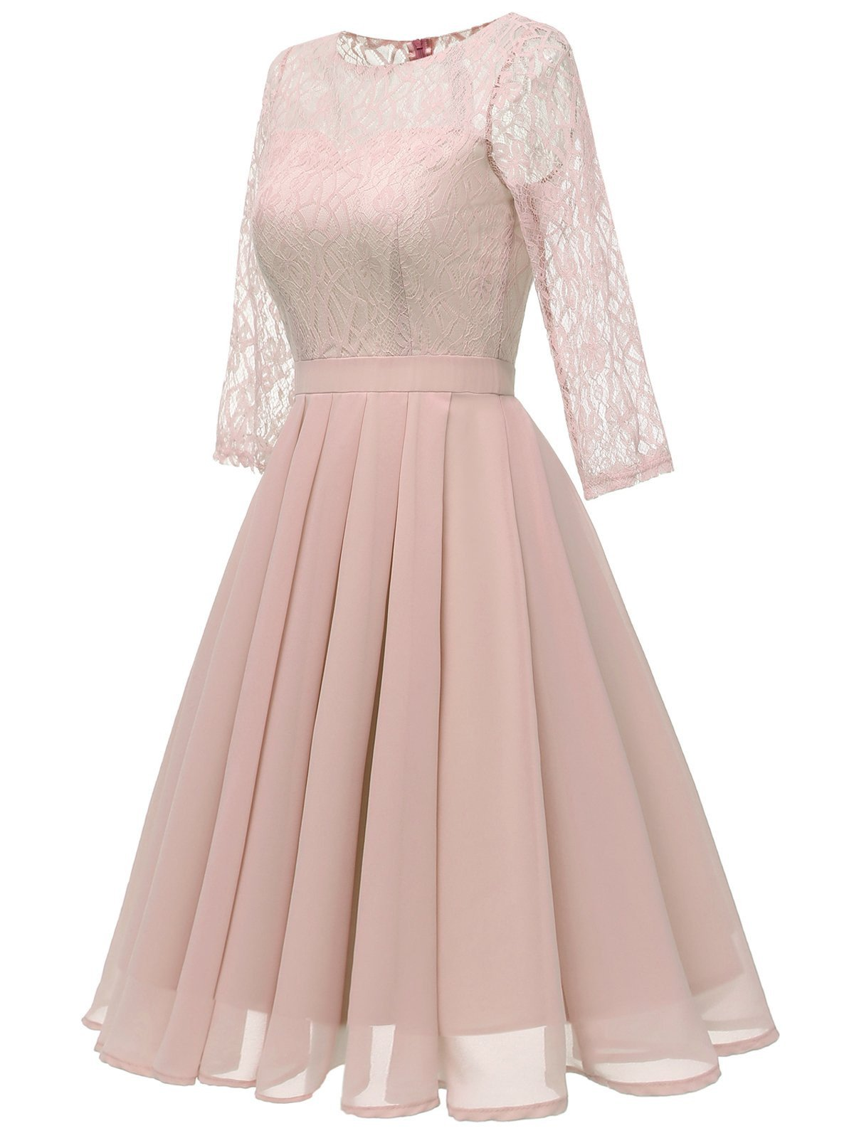 Pink 1950s Lace 3/4 Sleeve Swing Dress