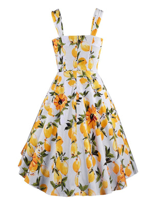 Yellow 1950s Floral Lemon Swing Dress