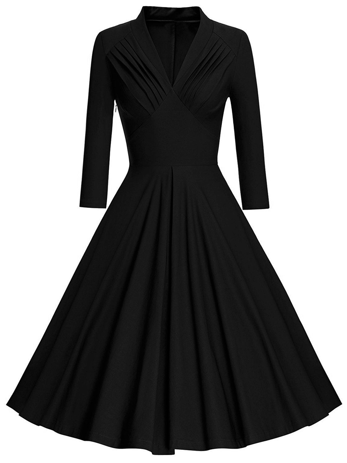 1950s Solid Long Sleeve Swing Dress