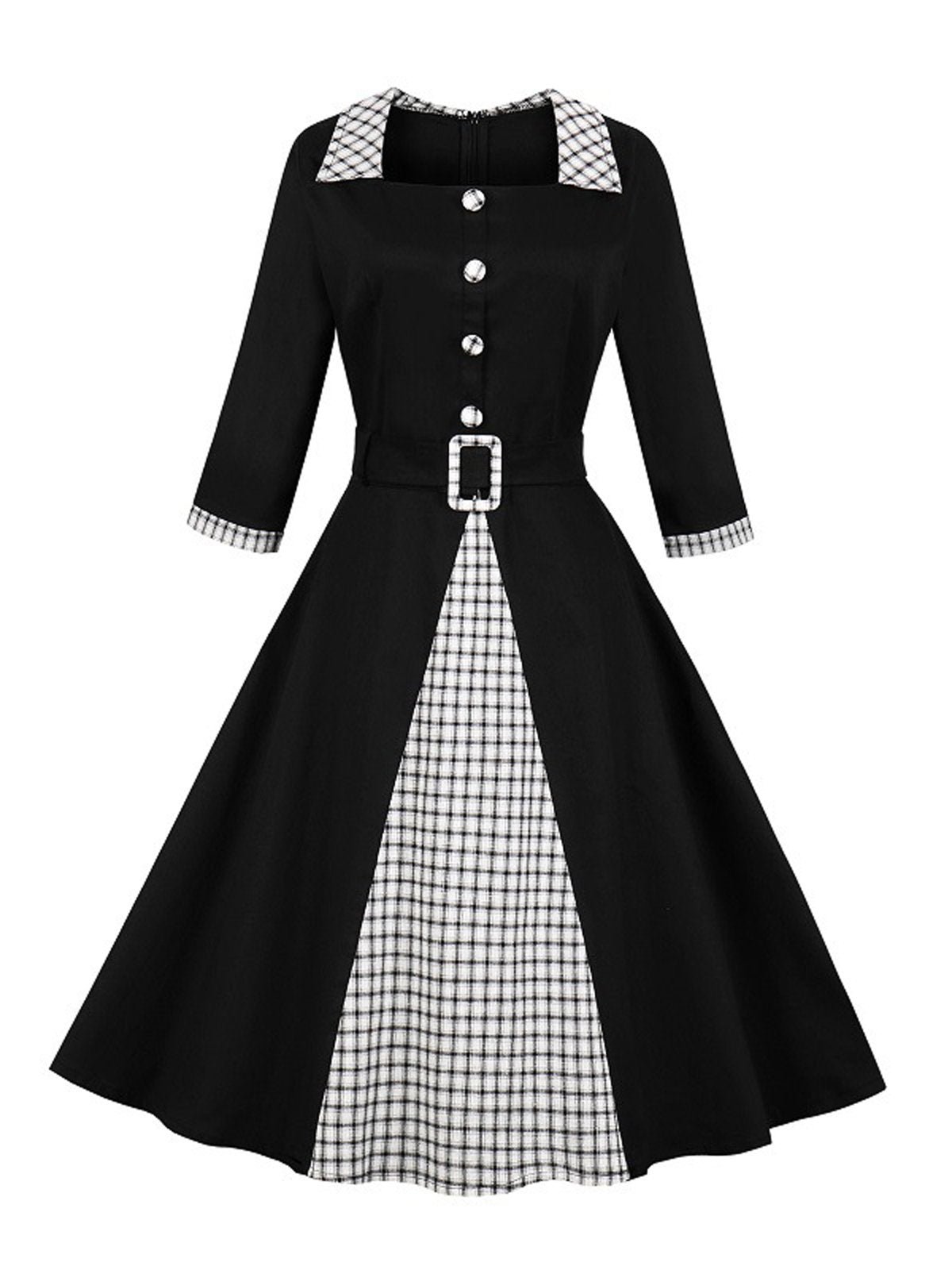 1950s Plaid Patchwork Belt Swing Dress